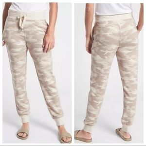 athleta balance beige printed camo joggers pants